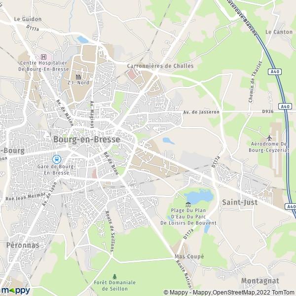 plan bourg en bresse carte de bourg en bresse 01000 et infos pratiques