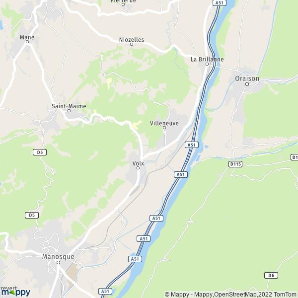 plan de Villeneuve, carte de Villeneuve