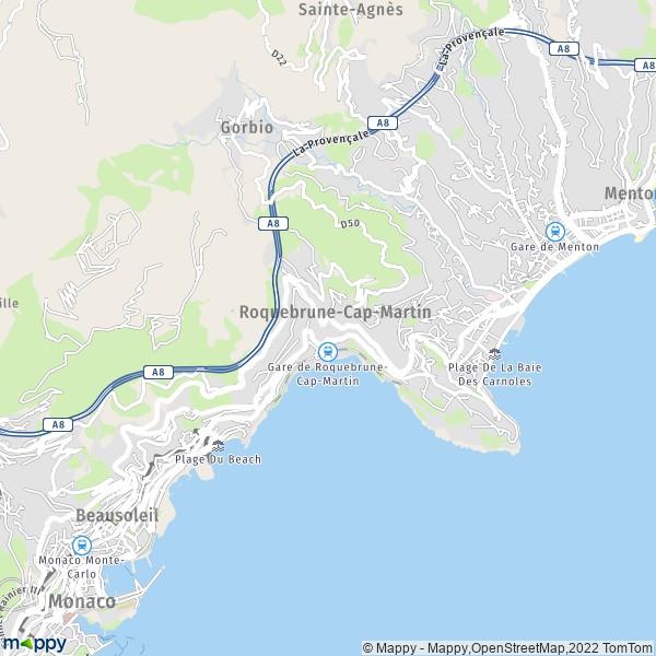 plan de Roquebrune-Cap-Martin, carte de Roquebrune-Cap-Martin