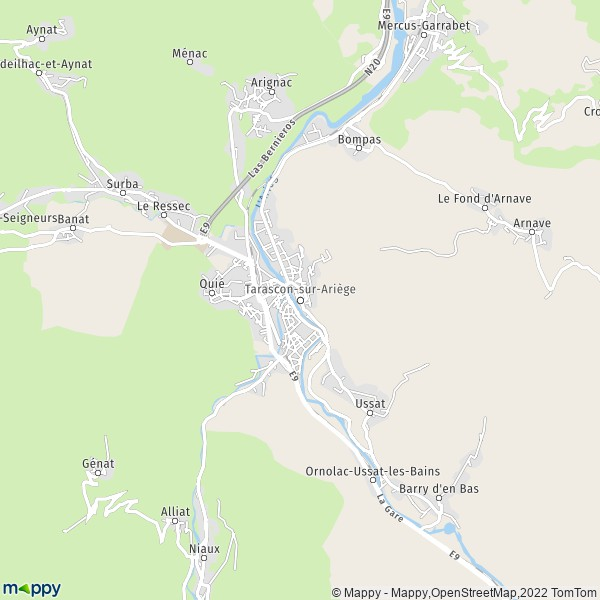 Plan tarascon sur ariege carte de tarascon sur ariege 09400 et infos pratiques - Office du tourisme de tarascon sur ariege ...