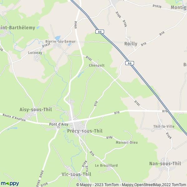 plan de Précy-sous-Thil, carte de Précy-sous-Thil