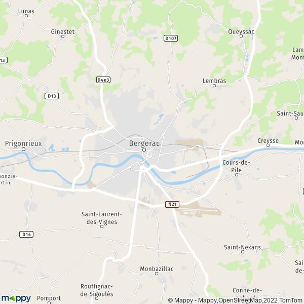 plan de Bergerac, carte de Bergerac