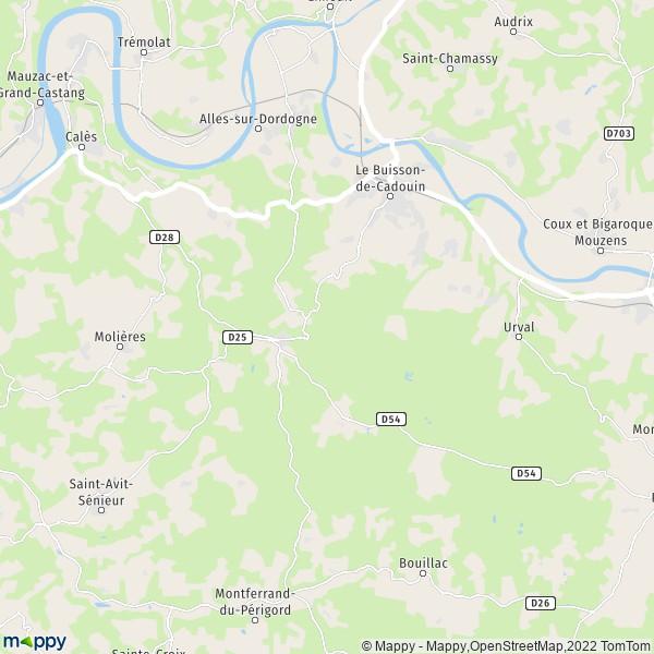 plan de Le Buisson-de-Cadouin, carte de Le Buisson-de-Cadouin