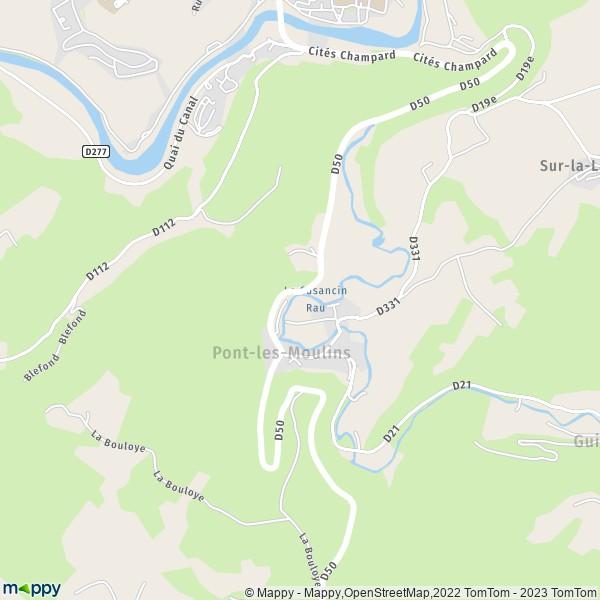Plan pont les moulins carte de pont les moulins 25110 for Plan de moulins