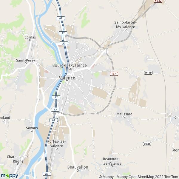 plan de Valence, carte de Valence