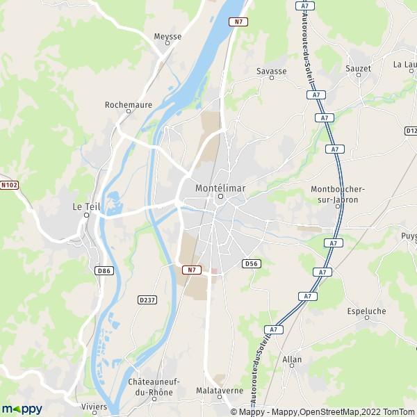 plan de Montélimar, carte de Montélimar