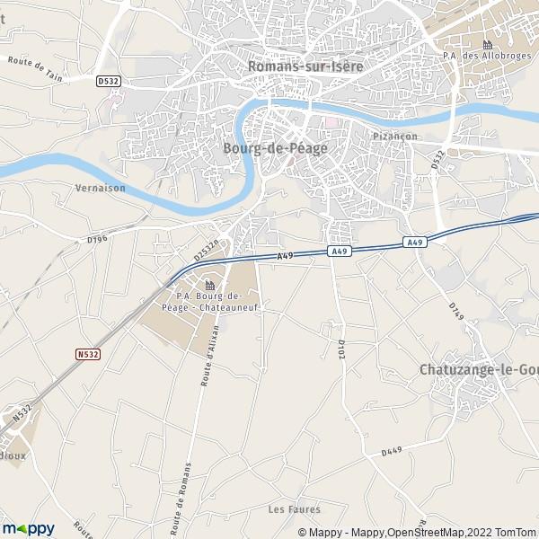 Plan bourg de peage carte de bourg de peage 26300 et for Piscine diabolo a bourg de peage