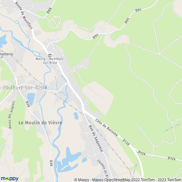 plan de Montfort-sur-Risle, carte de Montfort-sur-Risle