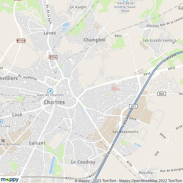 Plan chartres carte de chartres 28000 et infos pratiques for Piscine de chartre