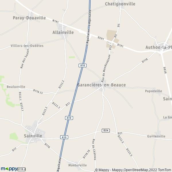 plan de Garancières-en-Beauce, carte de Garancières-en-Beauce