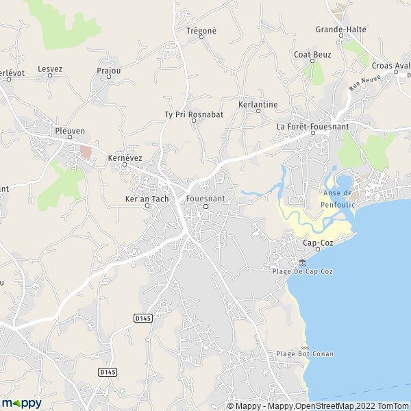 Carte Bretagne Plouhinec.Plan Fouesnant Carte De Fouesnant 29170 Et Infos Pratiques