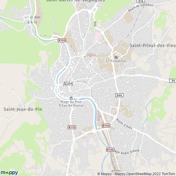 plan de Alès, carte de Alès