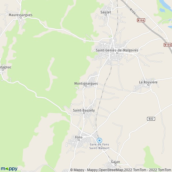 plan de Montignargues, carte de Montignargues