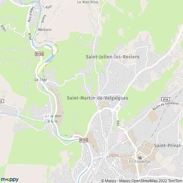 plan de Saint-Martin-de-Valgalgues, carte de Saint-Martin-de-Valgalgues