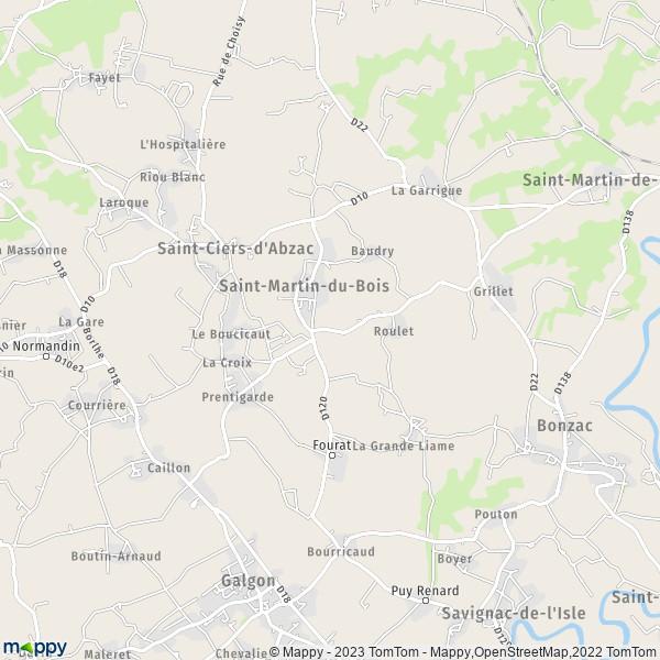 Plan saint martin du bois carte de saint martin du bois (33910) et infos pratiques # Saint Martin Du Bois