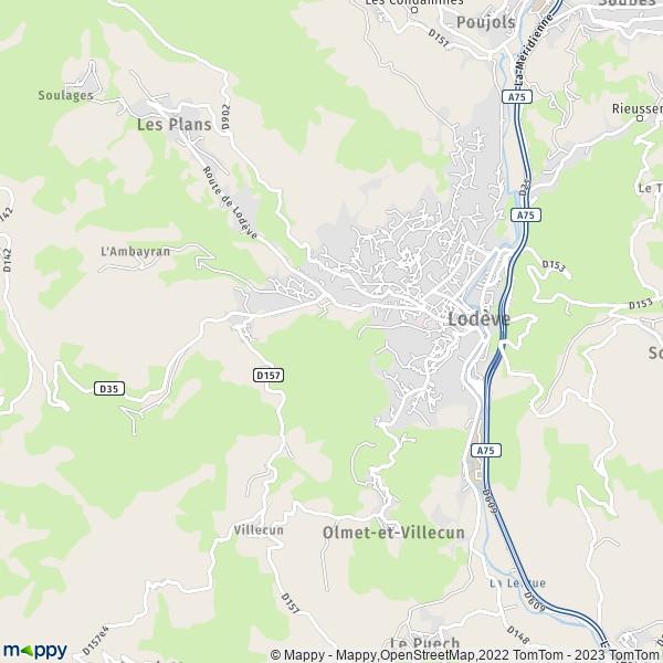 plan de Lodève, carte de Lodève