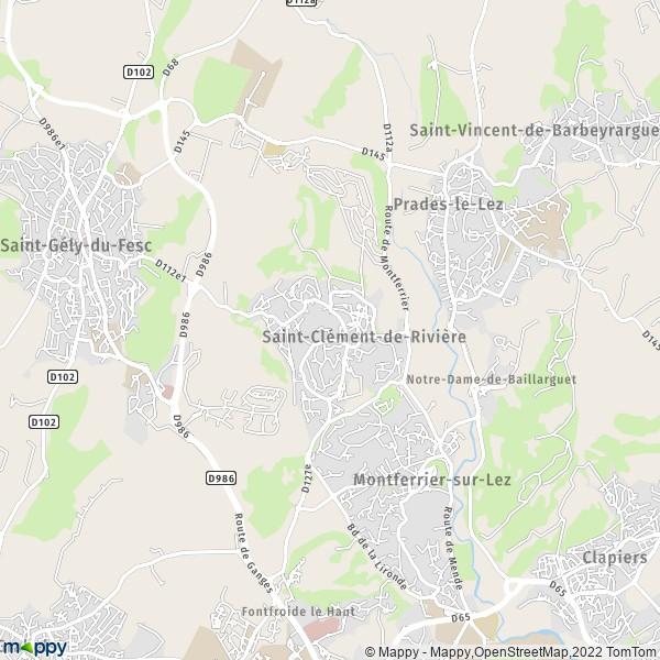 plan saint clement de riviere carte de saint clement de riviere 34980 et infos pratiques. Black Bedroom Furniture Sets. Home Design Ideas