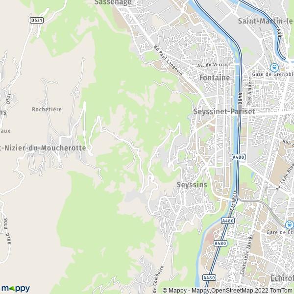 plan de Seyssinet-Pariset, carte de Seyssinet-Pariset