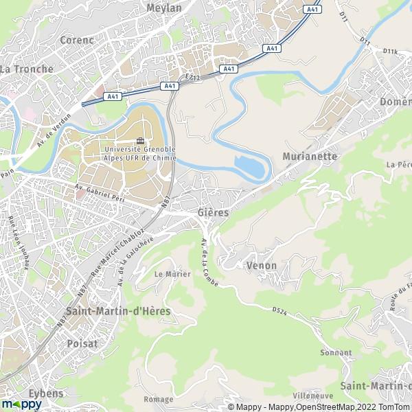 Gieres France  City pictures : Plan Gières : carte de Gières 38610 et infos pratiques