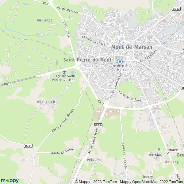 plan saint pierre du mont carte de saint pierre du mont 40280 et infos pratiques. Black Bedroom Furniture Sets. Home Design Ideas