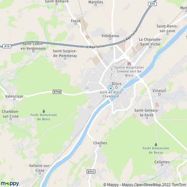 plan de Blois, carte de Blois