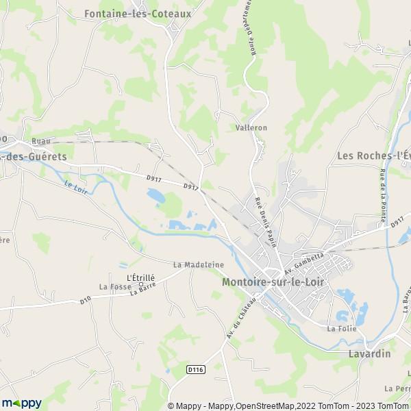 plan de Montoire-sur-le-Loir, carte de Montoire-sur-le-Loir