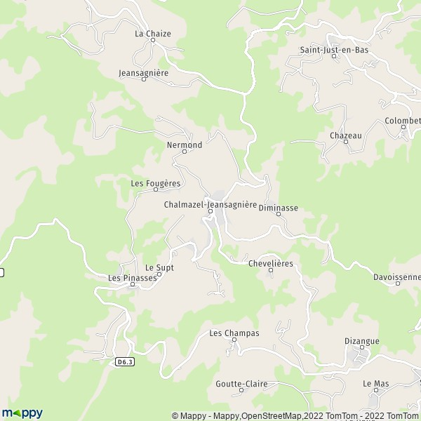 Plan Chalmazel-Jeansagnière 42920 : carte de Chalmazel