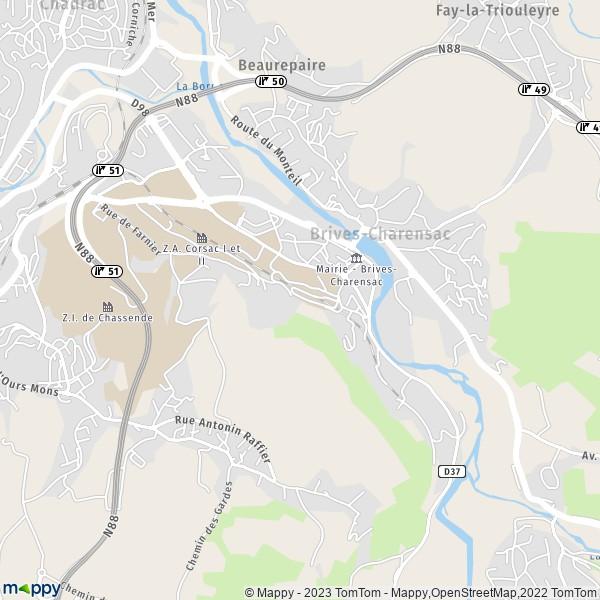 plan de Brives-Charensac, carte de Brives-Charensac
