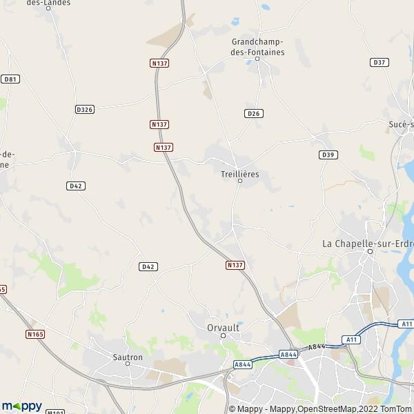 plan de Treillières, carte de Treillières