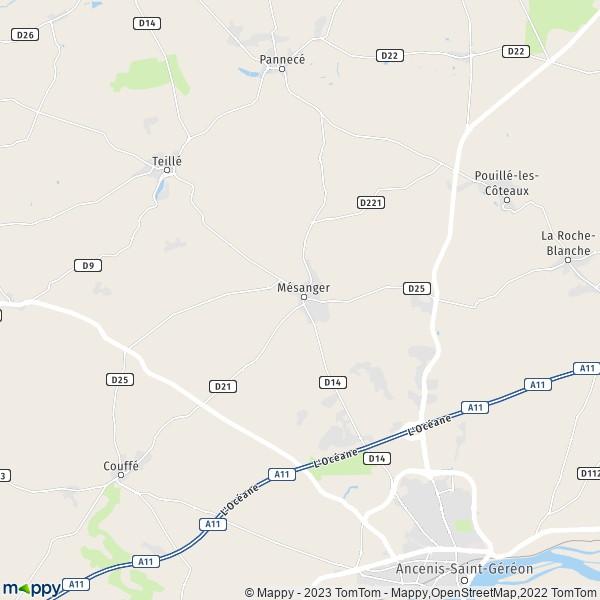 plan de Mésanger, carte de Mésanger