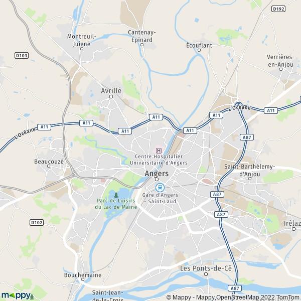 Plan angers : carte de angers (49000) et infos pratiques