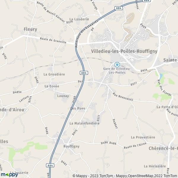 Plan villedieu les po les rouffigny 50800 carte de - Office du tourisme villedieu les poeles ...