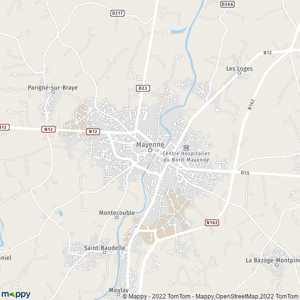 Plan mayenne : carte de mayenne (53100) et infos pratiques