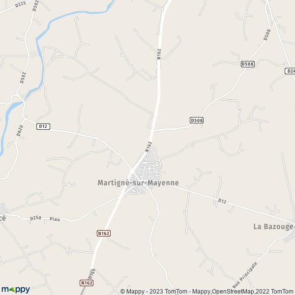 Plan Martign 233 Sur Mayenne Carte De Martign 233 Sur Mayenne