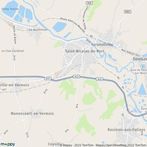 Plan saint nicolas de port carte de saint nicolas de port 54210 et infos pratiques - Clinique veterinaire saint nicolas de port ...