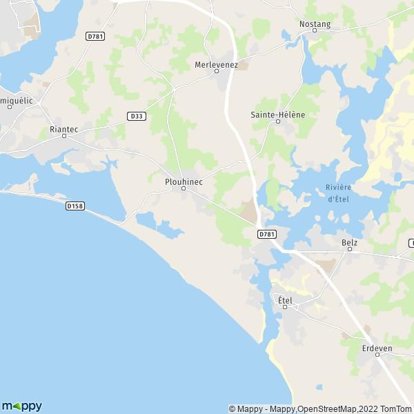 Carte Bretagne Plouhinec.Plan Plouhinec Carte De Plouhinec 56680 Et Infos Pratiques