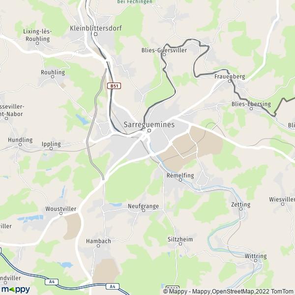 plan de Sarreguemines, carte de Sarreguemines