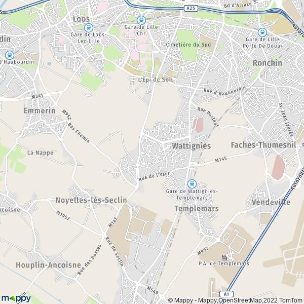 plan de Wattignies, carte de Wattignies