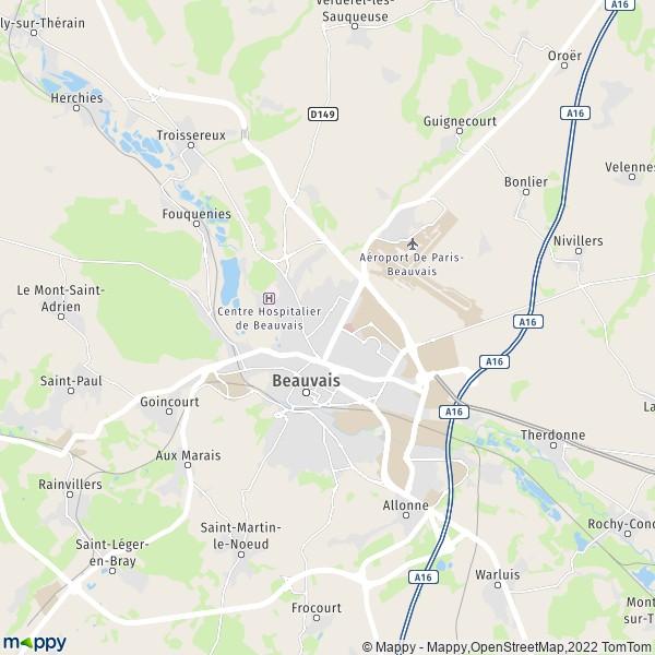 plan de Beauvais, carte de Beauvais