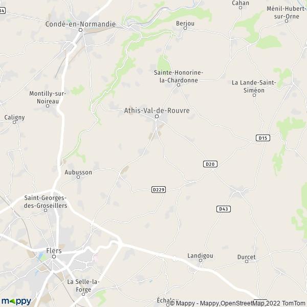 Plan athis de l 39 orne carte de athis de l 39 orne 61430 et infos pratiques - Jardin contemporain athis de l orne nantes ...