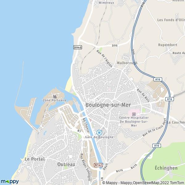 plan de Boulogne-sur-Mer, carte de Boulogne-sur-Mer