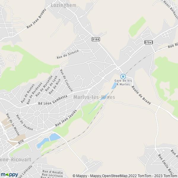 plan de Marles-les-Mines, carte de Marles-les-Mines