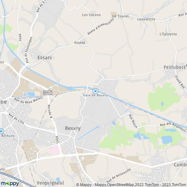plan de Beuvry, carte de Beuvry
