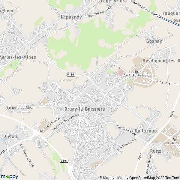 plan de Bruay-la-Buissière, carte de Bruay-la-Buissière