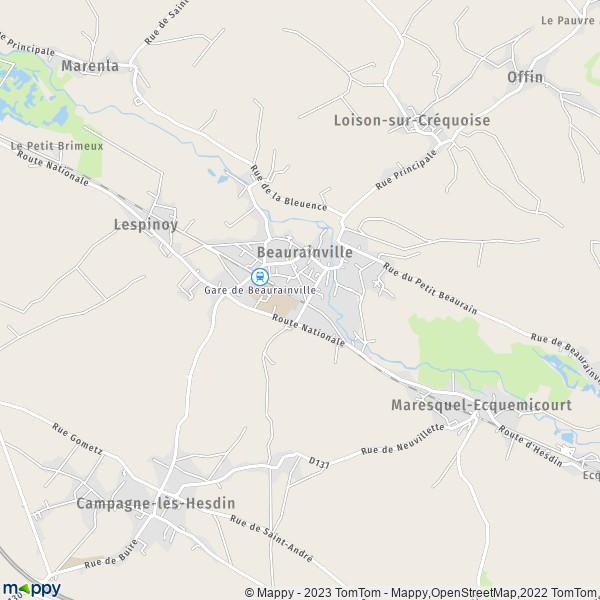 plan de Beaurainville, carte de Beaurainville