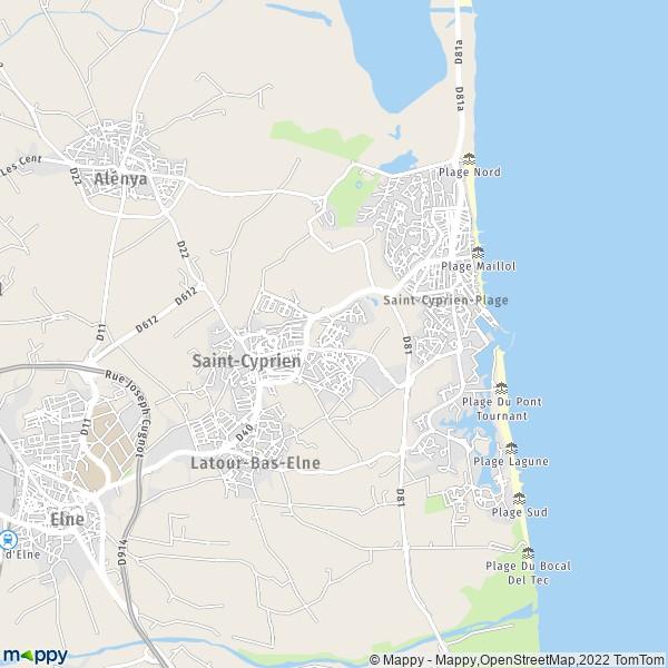 plan de Saint-Cyprien, carte de Saint-Cyprien