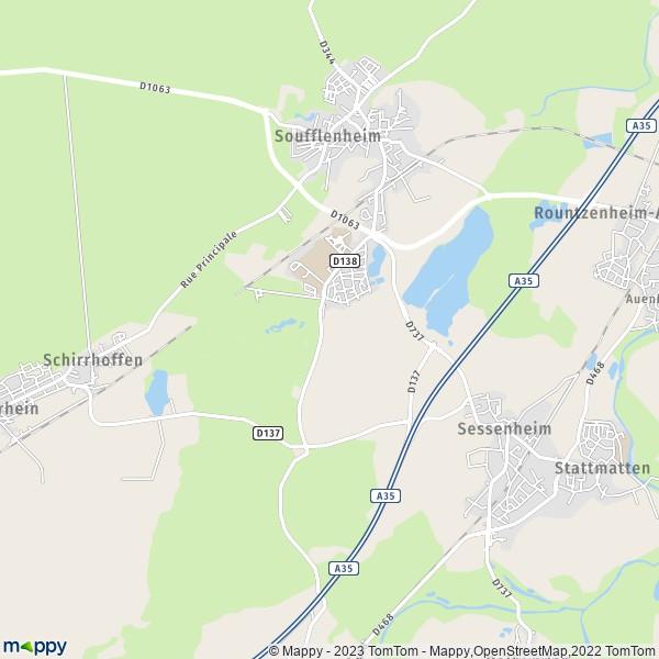 Plan soufflenheim carte de soufflenheim 67620 et infos for Plan de garons