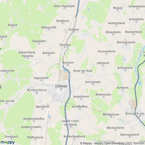plan de Colmar, carte de Colmar