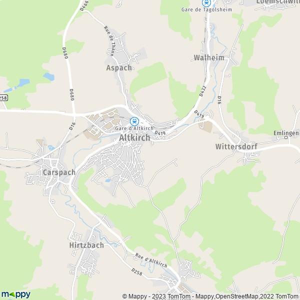 Carte Alsace Sundgau.Plan Altkirch Carte De Altkirch 68130 Et Infos Pratiques
