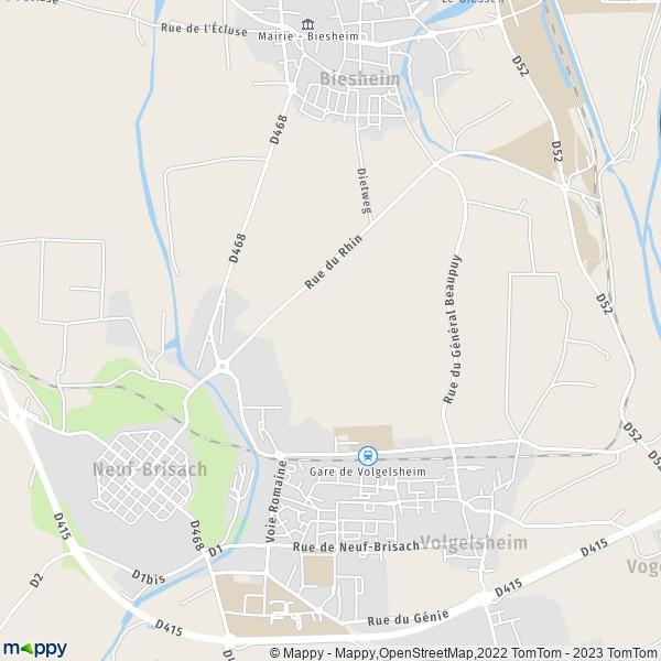 plan de Volgelsheim, carte de Volgelsheim